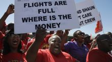 Workers strike at South Africa's state-owned airline