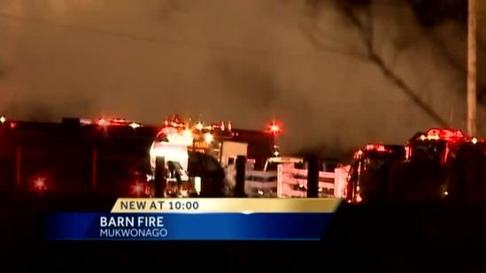 Fire crews respond to a barn fire in the Town of Mukwonago