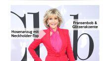 Look des Tages: Jane Fonda im roten Zweiteiler
