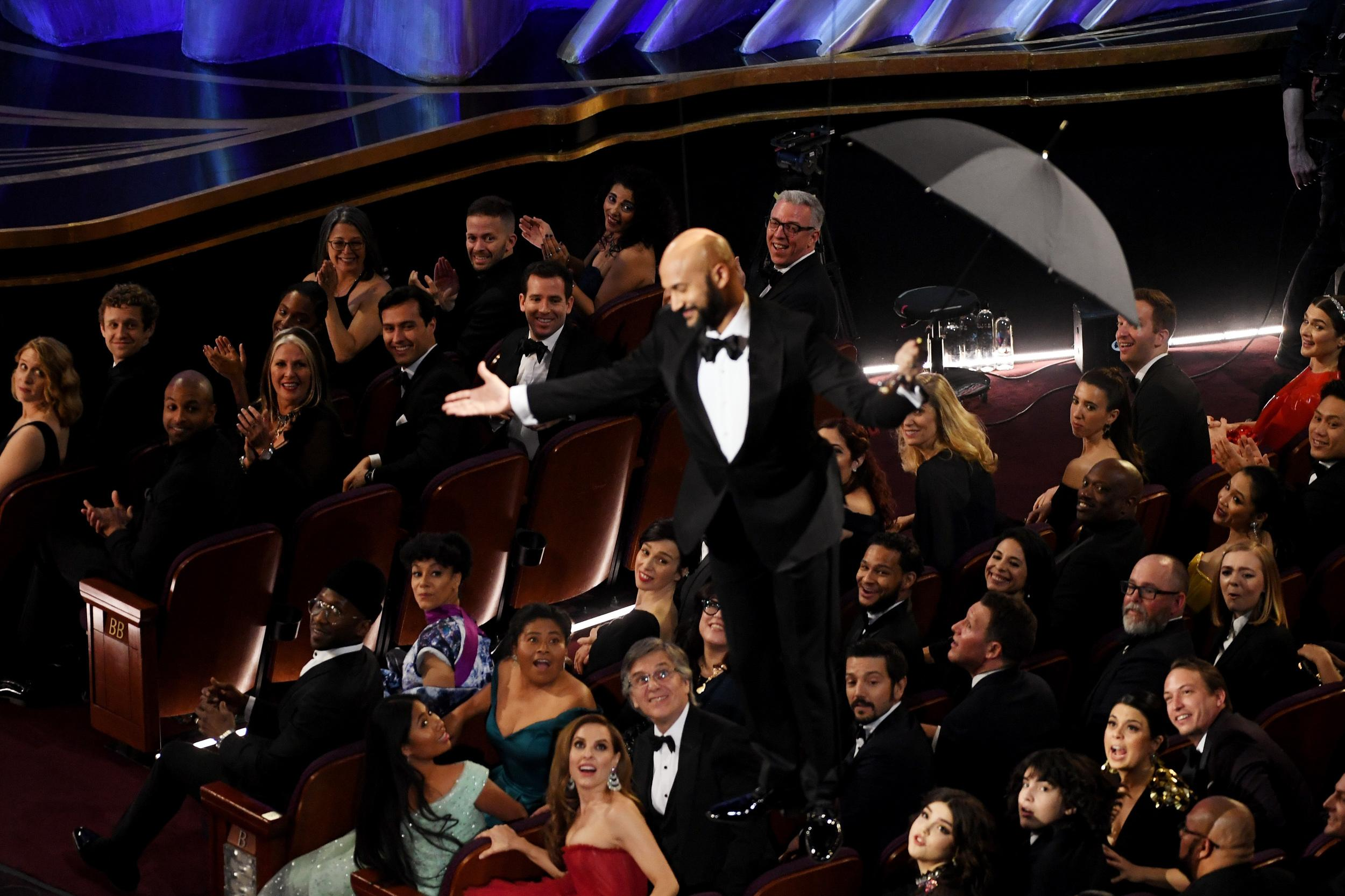 HOLLYWOOD, CALIFORNIA - FEBRUARY 24: Keegan-Michael Key is lowered to the floor during the 91st Annual Academy Awards at Dolby Theatre on February 24, 2019 in Hollywood, California. (Photo by Kevin Winter/Getty Images)