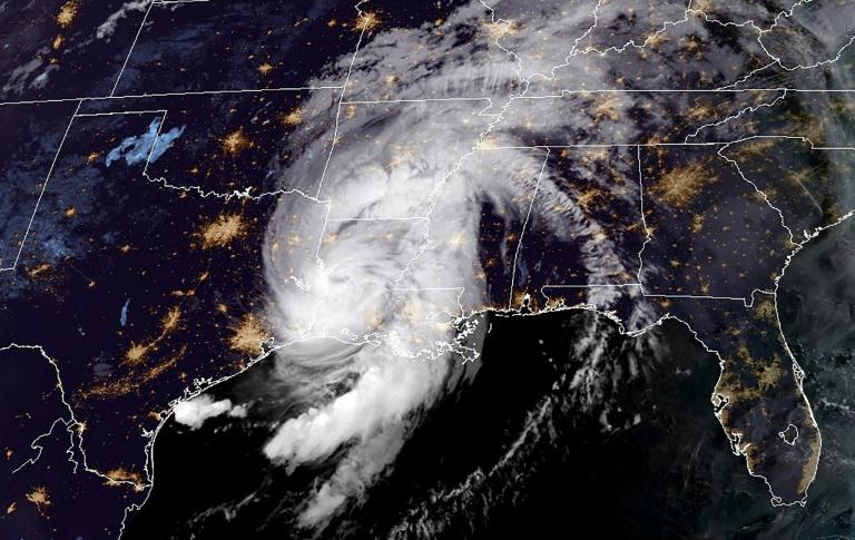 Hurricane Laura over the US state of Louisiana