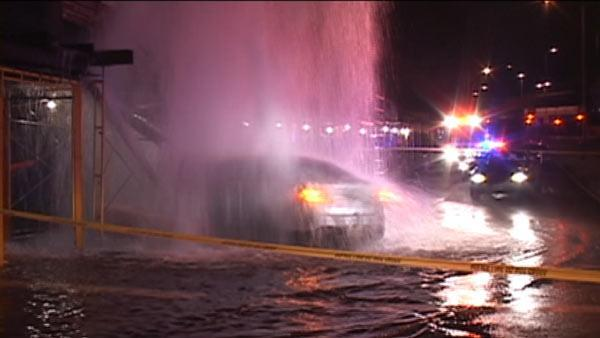 Car crashes into fire hydrant, building in SF
