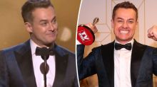 Grant Denyer breaks down on stage as he wins Gold Logie
