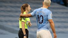 Sergio Aguero roundly condemned for touching match official Sian Massey-Ellis