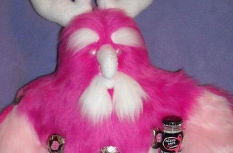 A pink moonkin for the Raid for the Cure raffle
