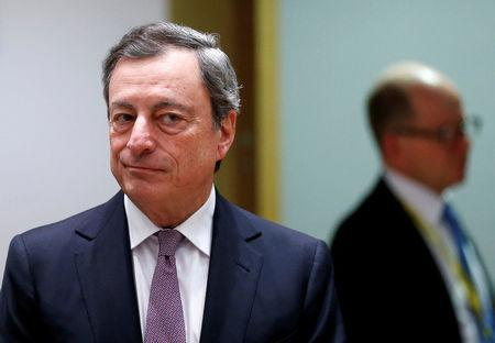 Image result for European Central Bank (ECB) President Mario Draghi attends a eurozone finance ministers meeting in Brussels, Belgium, February 19, 2018. REUTERS/Francois Lenoir/File Photo