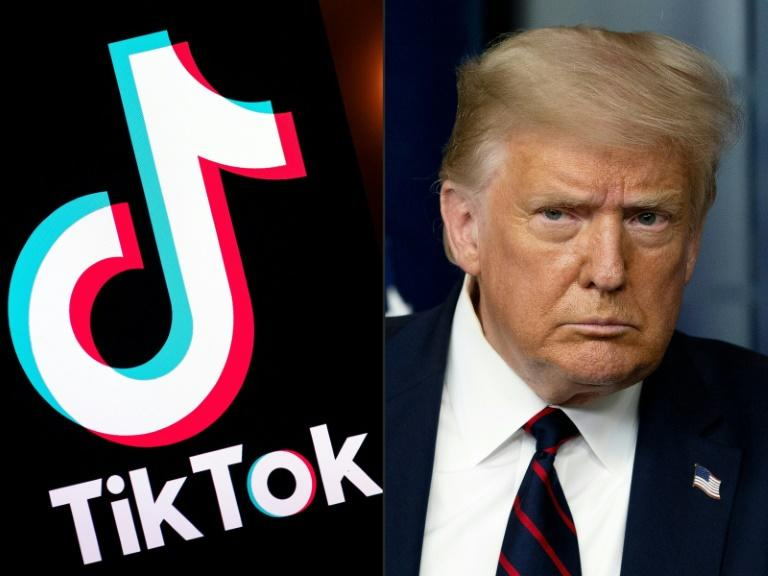 In one of many fronts in the increasingly poisonous US-Chinese relationship, President Donald Trump has threatened to ban the wildly popular app TikTok, citing national security concerns (AFP Photo/Lionel BONAVENTURE, JIM WATSON)