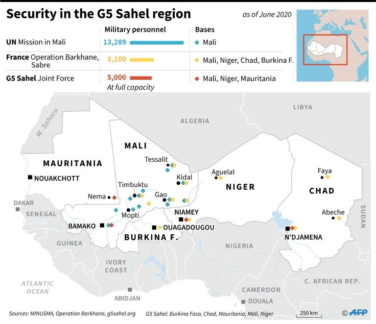 UN, African and French forces in the G5 Sahel region, as of June 2020 (AFP Photo/)