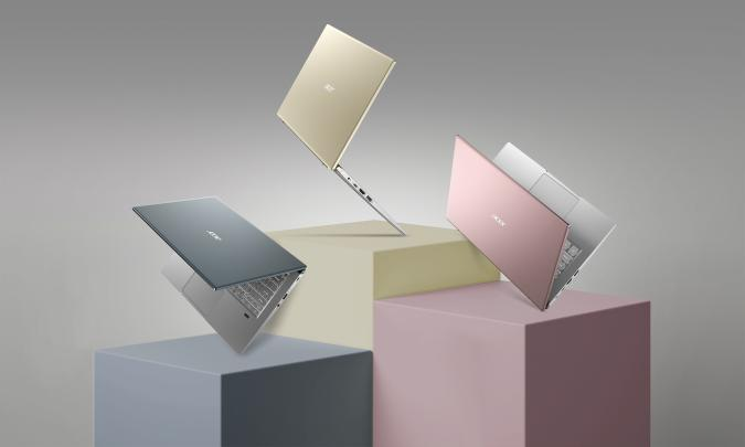 Promotional image of three Acer Swift X models floating on different pedestals.