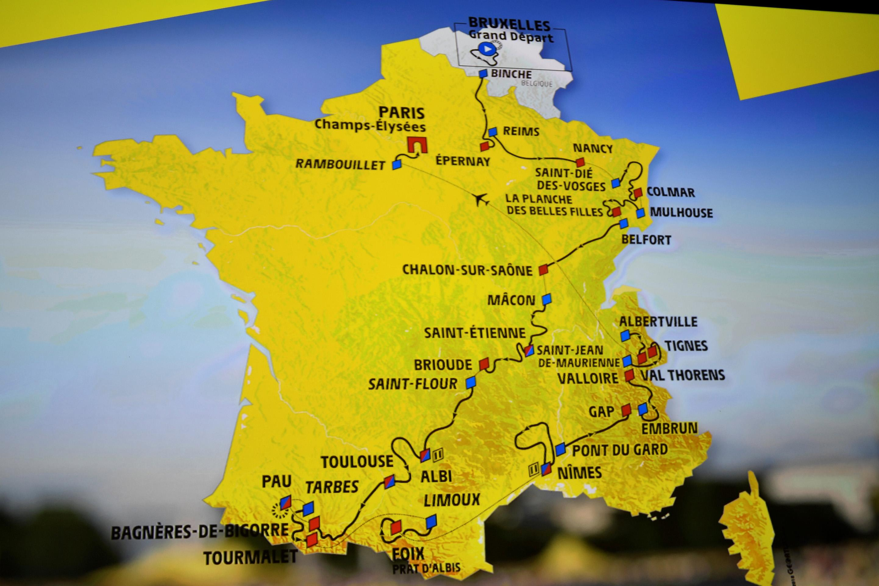 Map Of France Mountains.Mountains Galore As 2019 Tour De France Route Unveiled