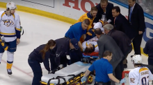 Kevin Fiala of Predators stretchered off in Game 1 vs. Blues (Video)