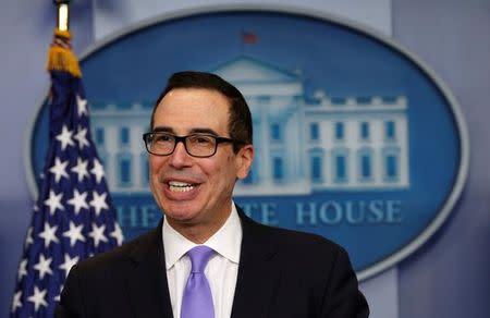 FILE PHOTO: U.S. Treasury Secretary Steven Mnuchin speaks at a press briefing at the White House in Washington, U.S., February 14, 2017. REUTERS/Kevin Lamarque