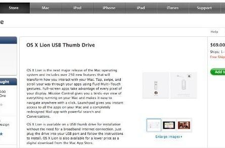 Apple's OS X Lion USB sticks now available online, for $69