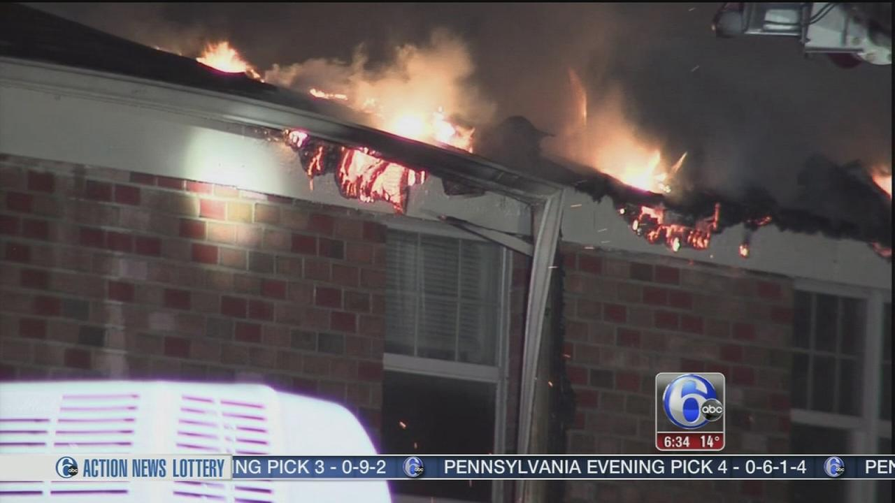 Flames rip through apartment roof in Lindenwold, N J