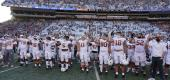 "Texas players stand for ""The Eyes of Texas"" after playing Baylor in October 2020. (AP)"
