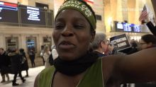 Pro-impeachment protesters gather at Grand Central in NYC