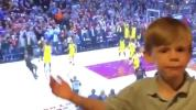 Young fan calls 'game' before LeBron's shot
