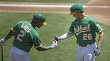 Olson homers, Fiers gets 1st win as A's sweep Rangers