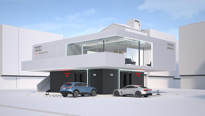A rendering of the proposed Audi high-speed premium charging hub, like a fancy space age rest stop.