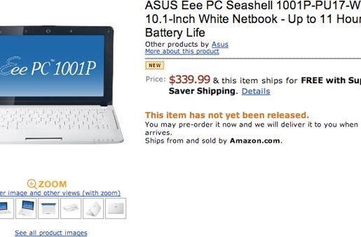 ASUS Eee PC 1001P brings its seashell design, Atom N450 to Amazon's US listings