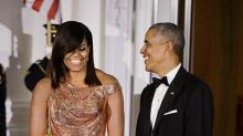 Michelle Obama stuns at final state dinner in custom Versace gown