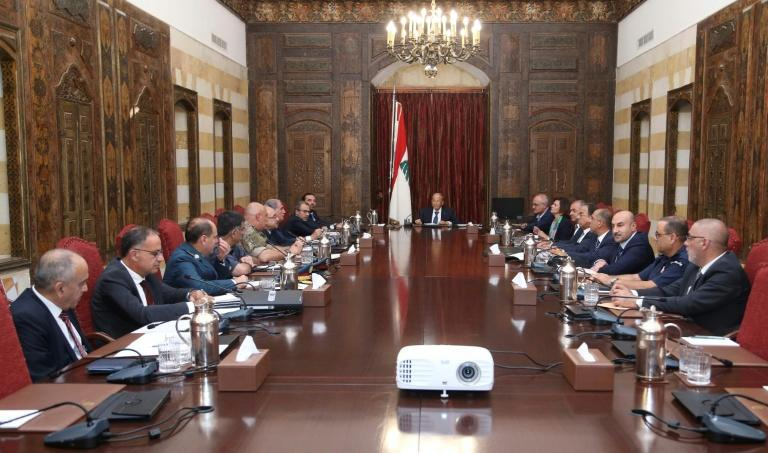 President Michel Aoun (C) chairs a meeting of the Higher Defence Council in the historic Beiteddine Palace in Lebanon's Chouf moutains, southeast of the capital Beirut