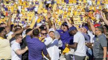 Les Miles receives huge ovation, eats grass in return to LSU (Video)
