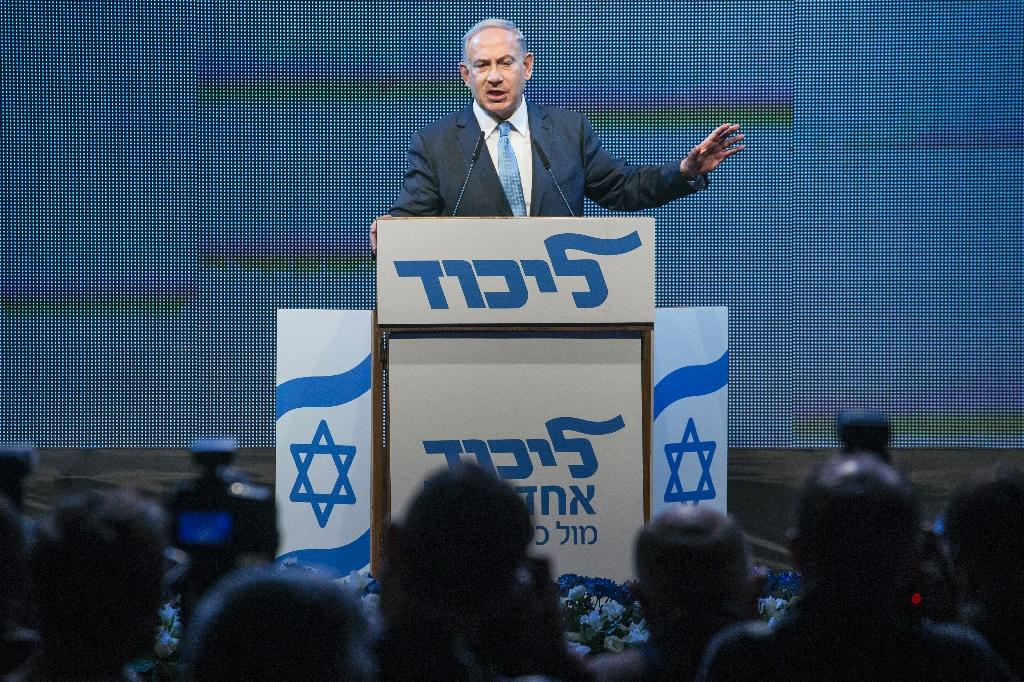 Israeli Prime Minister and leader of the ruling rightwing Likud party, Benjamin Netanyahu speaks at a campaign meeting in Tel Aviv in January ahead of early elections (AFP Photo/Jack Guez)