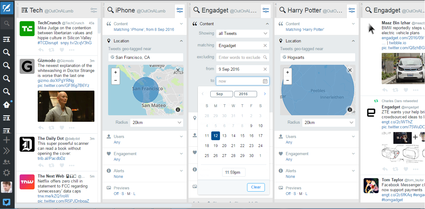 Tweetdeck adds location and date search filters   Engadget