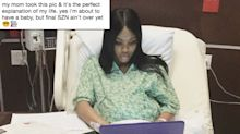 Woman finishes college finals from hospital bed while in labor