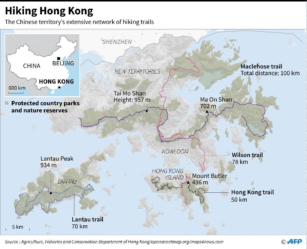 Protected country parks and main hiking trails in Hong Kong (AFP Photo/Laurence CHU)