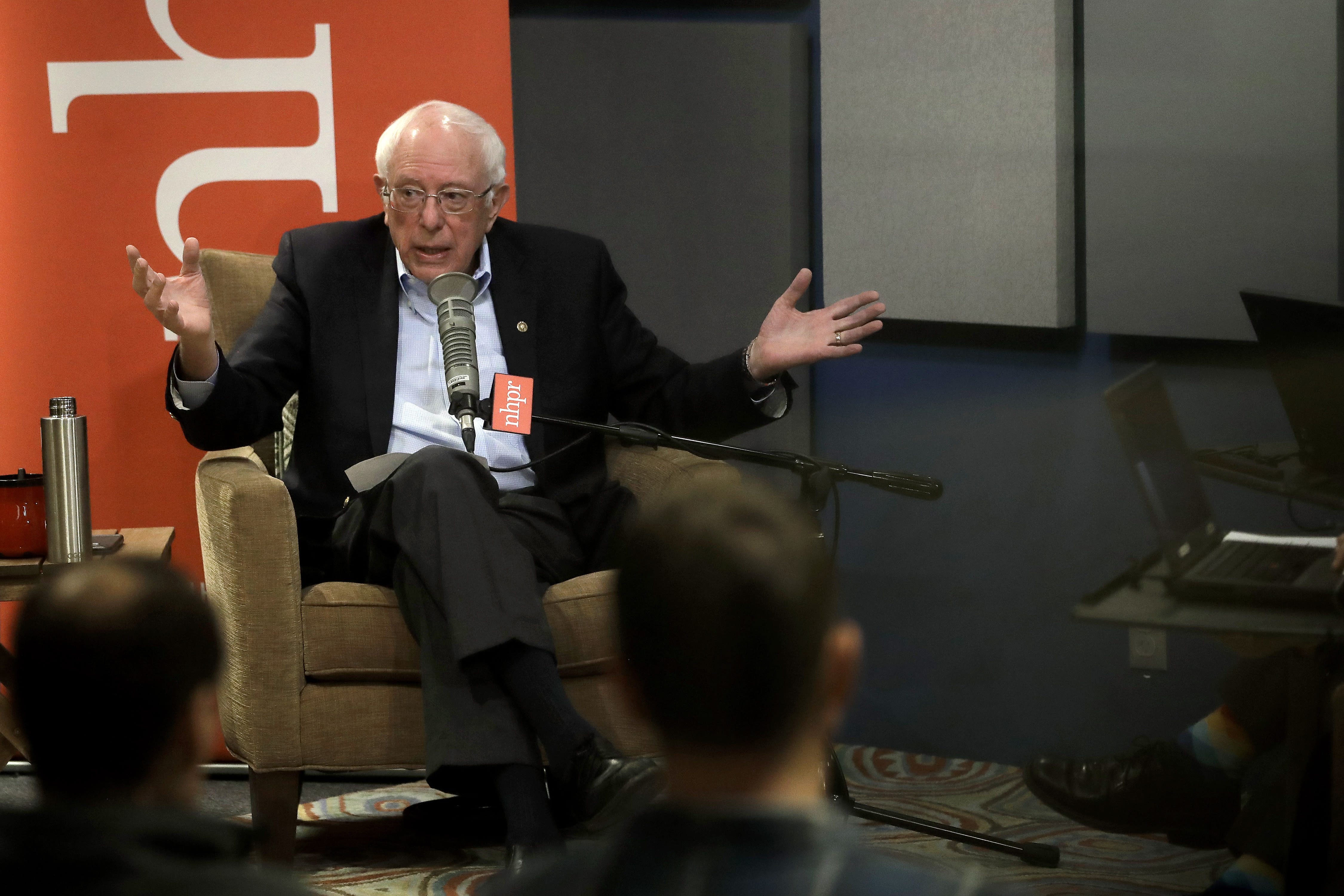 Democratic presidential candidate Sen. Bernie Sanders, I-Vt., speaks during a forum broadcast on radio in a New Hampshire Public Radio station, Sunday, Jan. 19, 2020, in Concord, N.H. (AP Photo/Steven Senne)