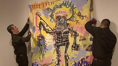 Raw Video: Sneak peek at artist Basquiat's work