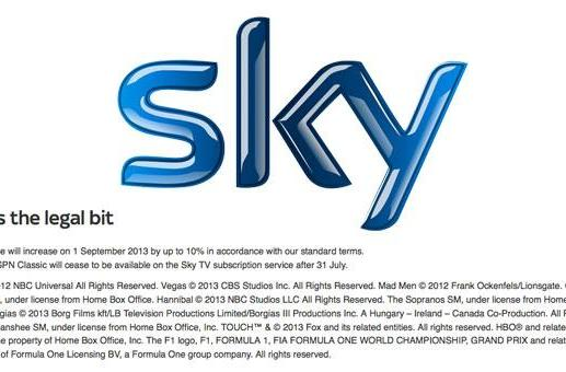 Sky site suggests TV subscription prices could increase by up to 10 percent on September 1st