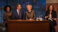 Hillary Clinton tells bad jokes on 'Late Night With Seth Meyers'