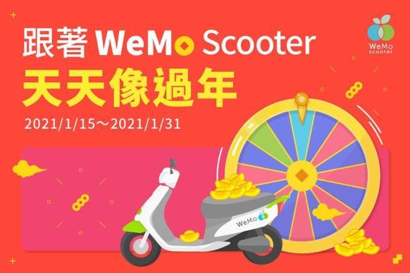 WeMo Scooter迎春節即日起天天發放幸運金、拜年LINE貼圖同步上線!