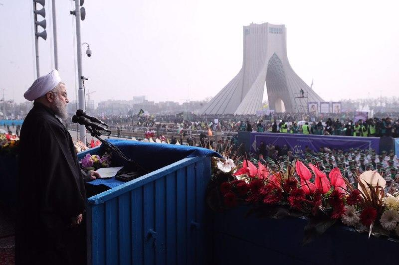 Picture provided by the office of Iranian President Hassan Rouhani on February 10, 2017 shows him delivering a speech at Azadi Square in the capital Tehran during a ceremony to mark the 38th anniversary of the Islamic revolution (AFP Photo/)