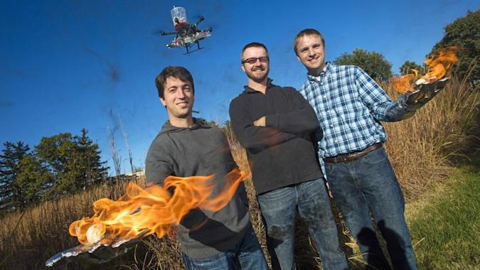 Drone fights fires by dropping flaming balls