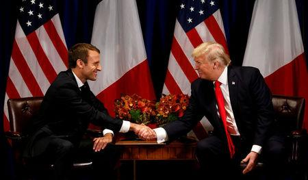 U.S. President Donald Trump meets French President Emmanuel Macron in New York, U.S., September 18, 2017. REUTERS/Kevin Lamarque/Files