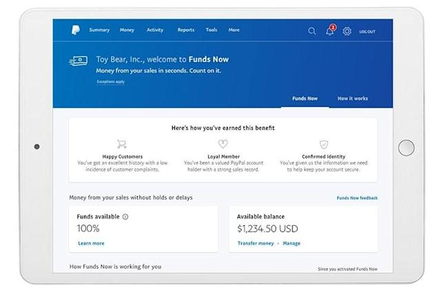 PayPal will instantly pay businesses after they make a sale
