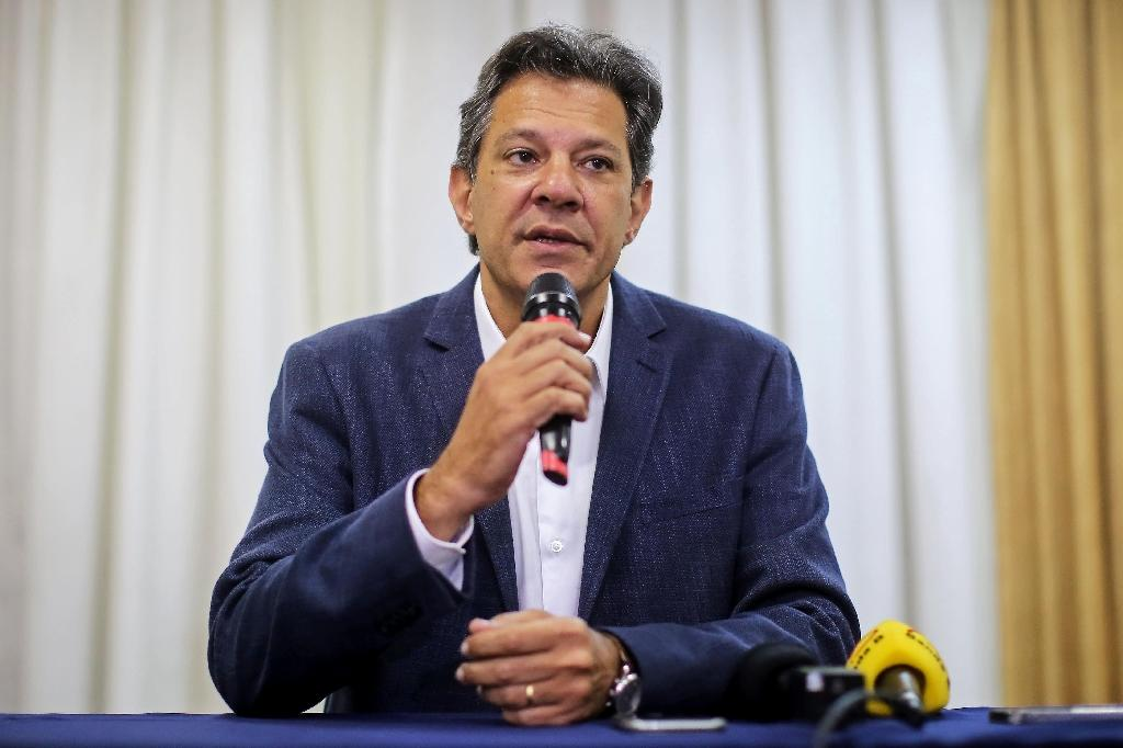 Fernando Haddad, seen here in a file image, will square off in Brazil's presidential runoff against right-winger Jair Bolsonaro (AFP Photo/Heuler Andrey)