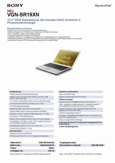 Sony VAIO FW, SR laptops get unofficially detailed