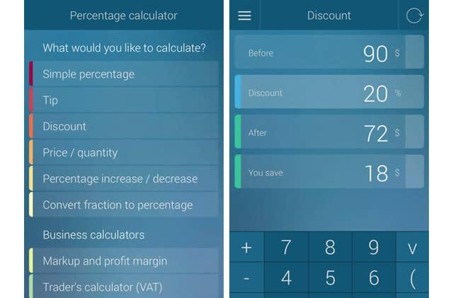 Percentage Calculator does the math so you don't have to