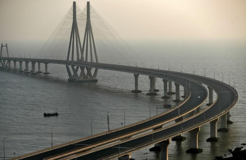 A view of Bandra-Worli sea link over the Arabian Sea is seen during a 14-hour long curfew to limit the spreading of coronavirus disease (COVID-19) in the country, in Mumbai