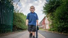 Four-year-old boy who has beaten leukaemia twice starts first day of school