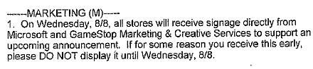GameStop prepping for a Microsoft announcement on August 8th?