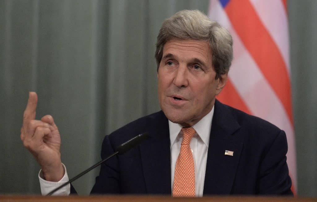 US Secretary of State John Kerry speaks during a press conference on July 15, 2016 (AFP Photo/Natalia Kolesnikova)