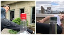 Novo desafio da web: famosos dão golpe em tampa de garrafa