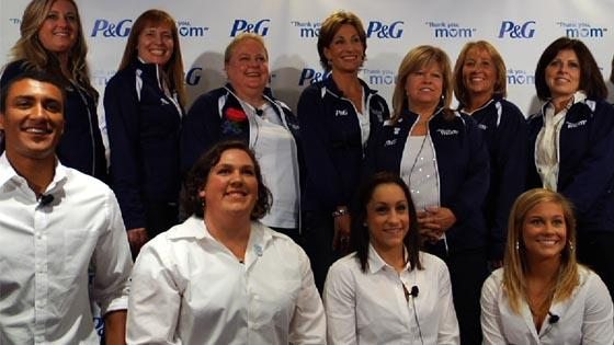 Shawn Johnson, Diana Lopez, Jordyn Wieber, Ashton Eaton and Sarah Robles thank their moms with P&G