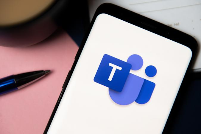 POLAND - 2020/10/06: In this photo illustration a Microsoft Teams logo displayed on a smartphone. (Photo Illustration by Mateusz Slodkowski/SOPA Images/LightRocket via Getty Images)